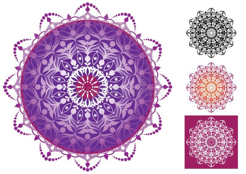 Ornamentos hermosos de la mandala stock de ilustración