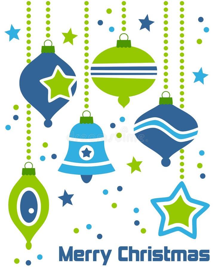 Ornamentos retros de la Navidad stock de ilustración