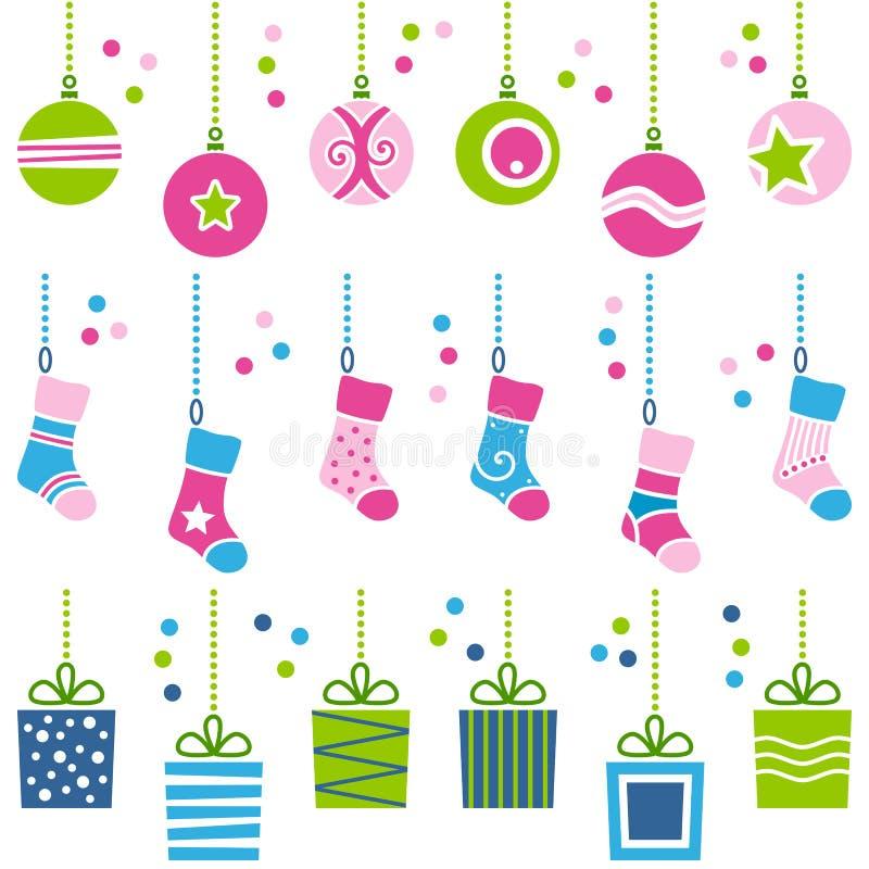 Ornamentos retros de la Navidad fijados stock de ilustración