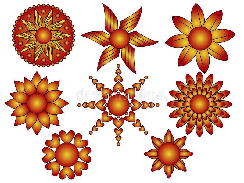 Ornamentos rojos y anaranjados de la flor y del corazón stock de ilustración