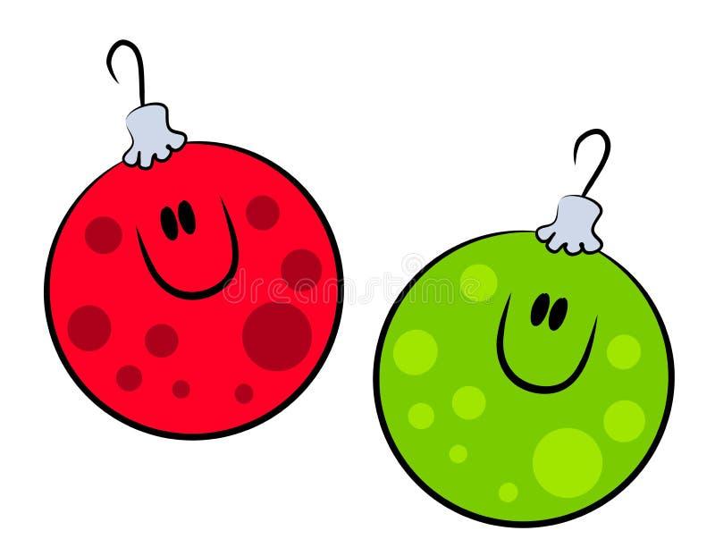 Ornamentos Sonrientes De Navidad De La Historieta Fotos De Archivo Gratis
