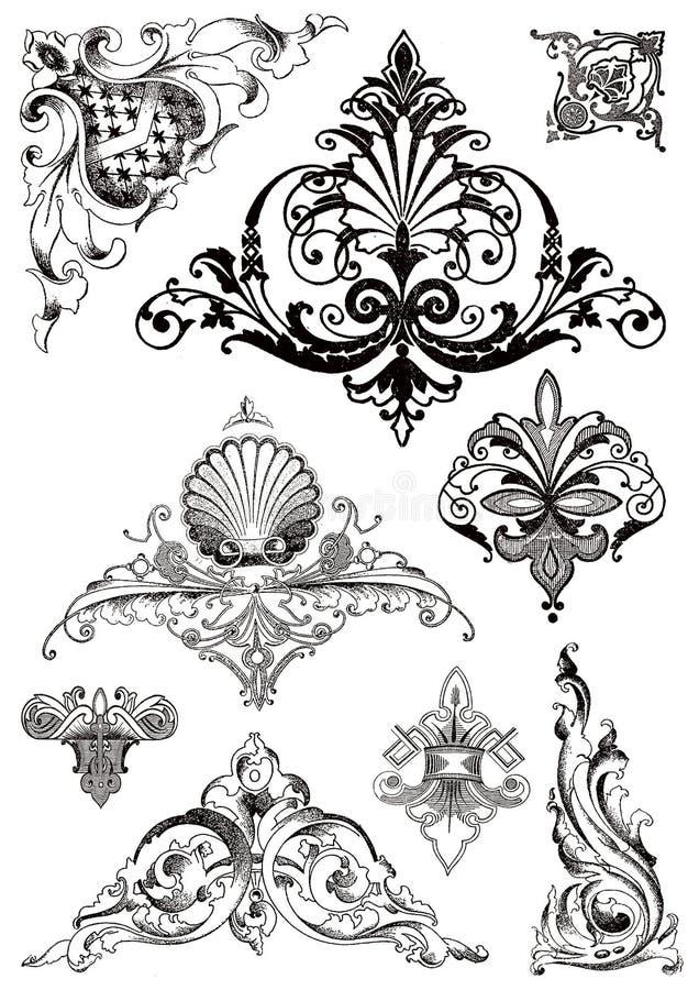 Ornamentos victorianos del estilo stock de ilustración