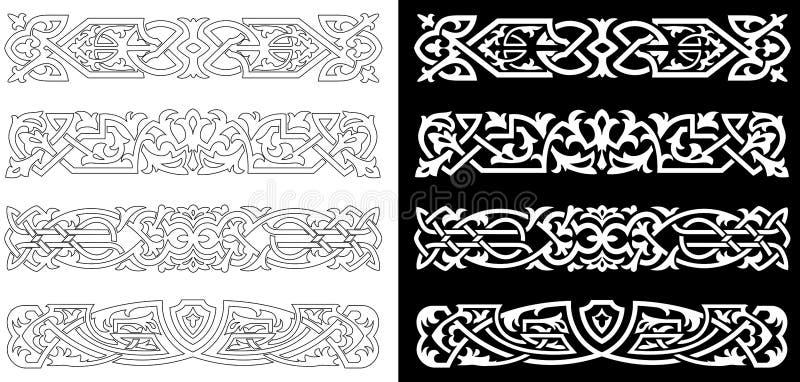 Ornamentos y modelos retros ilustración del vector