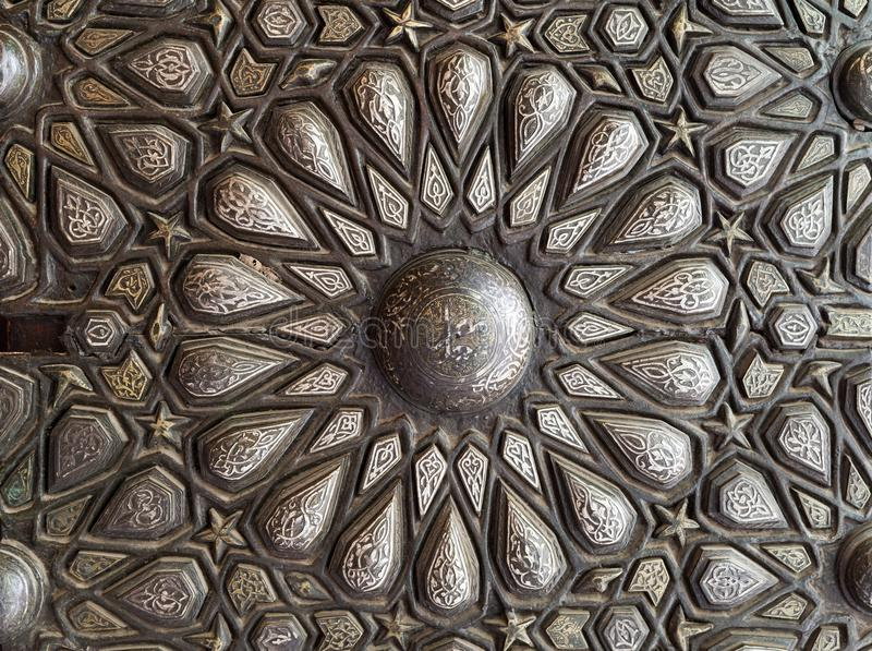 Ornaments of the bronze-plate ornate door, Palace of Prince Mohammed Ali Tewfik, Cairo, Egypt stock images