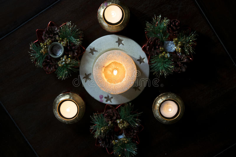 Ornaments and christmas candles. Christmas atmosphere with decorations and christmas candles stock image