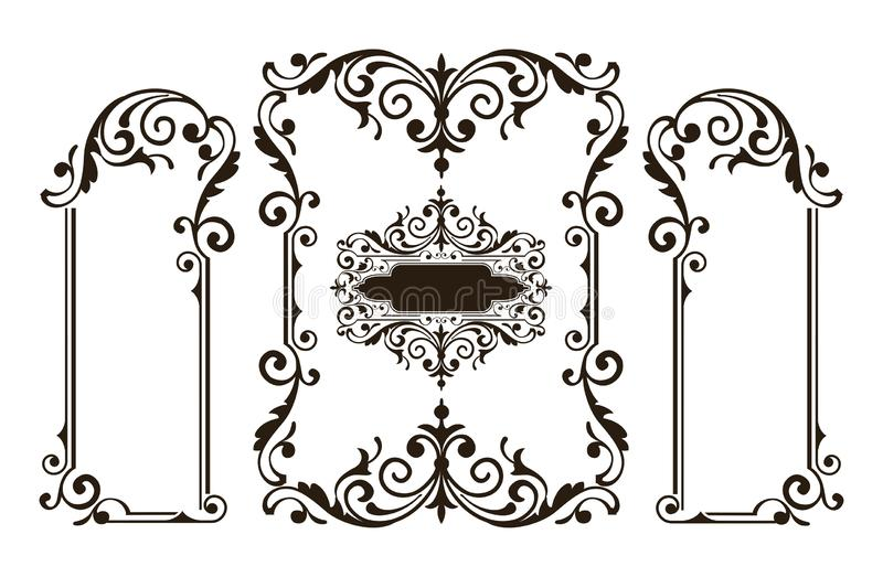 Ornaments elements floral retro corners frames borders stickers art deco design illustration royalty free illustration