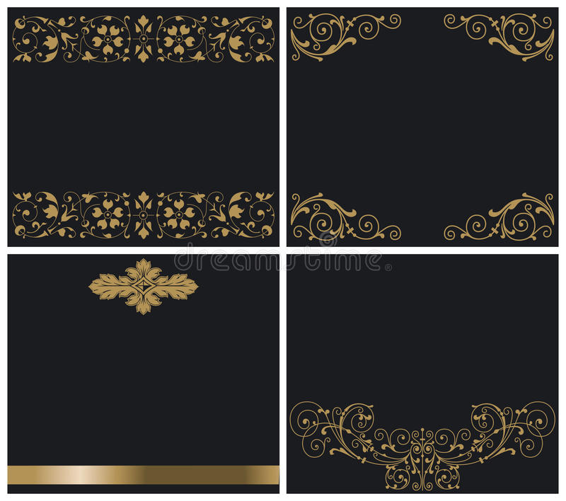 Download Ornaments gold on black stock vector. Illustration of present - 25288739