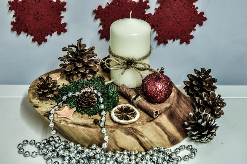 Candle holder on the table, Christmas royalty free stock image