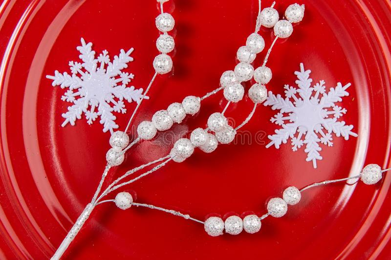 Ornaments: white twigs and snowflakes royalty free stock images