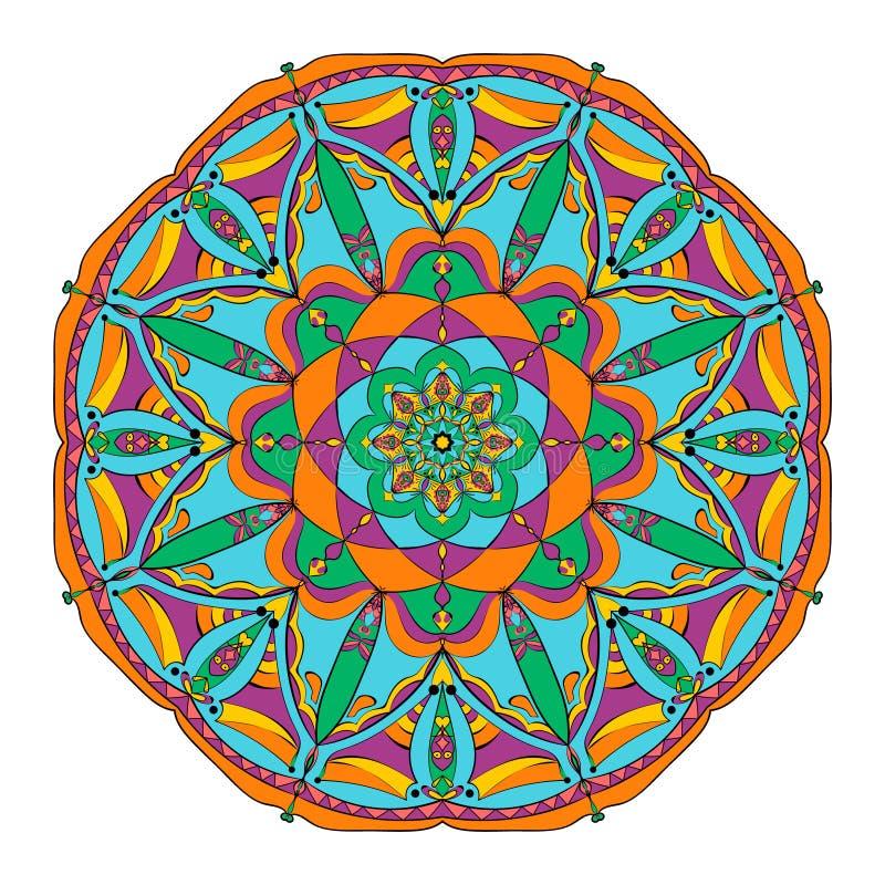 Ornamentu koloru karta z mandala elementu dekoracyjny rocznik Ręka rysujący background3 royalty ilustracja