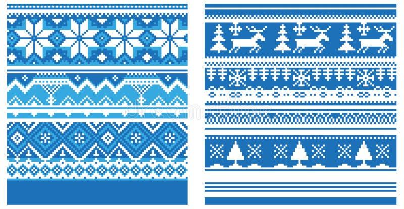 Ornamentu trykotowy błękit royalty ilustracja