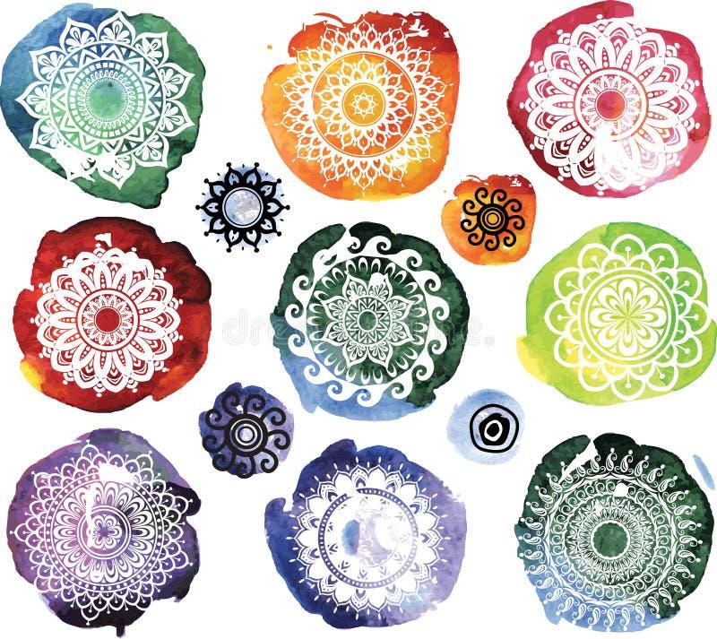 Ornamentu wzór na akwareli splatters royalty ilustracja
