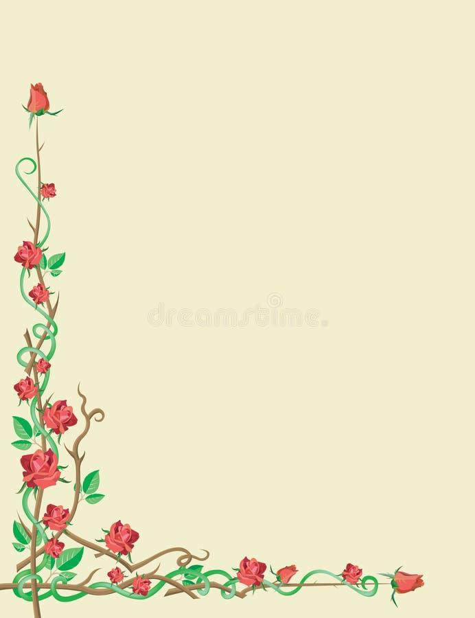 Download Ornamentuje czerwone róże ilustracja wektor. Ilustracja złożonej z pączek - 13334858
