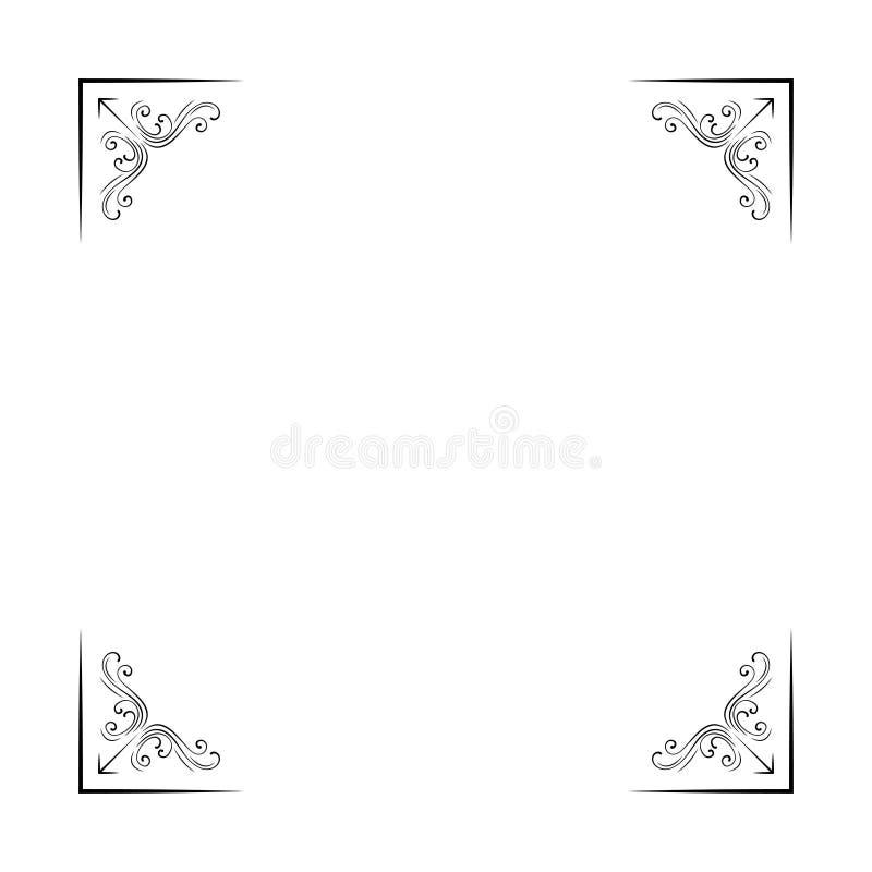 Ornametal decorative corners. Filigree flourish vintage page divider. Scroll elemetns. Vector. royalty free illustration