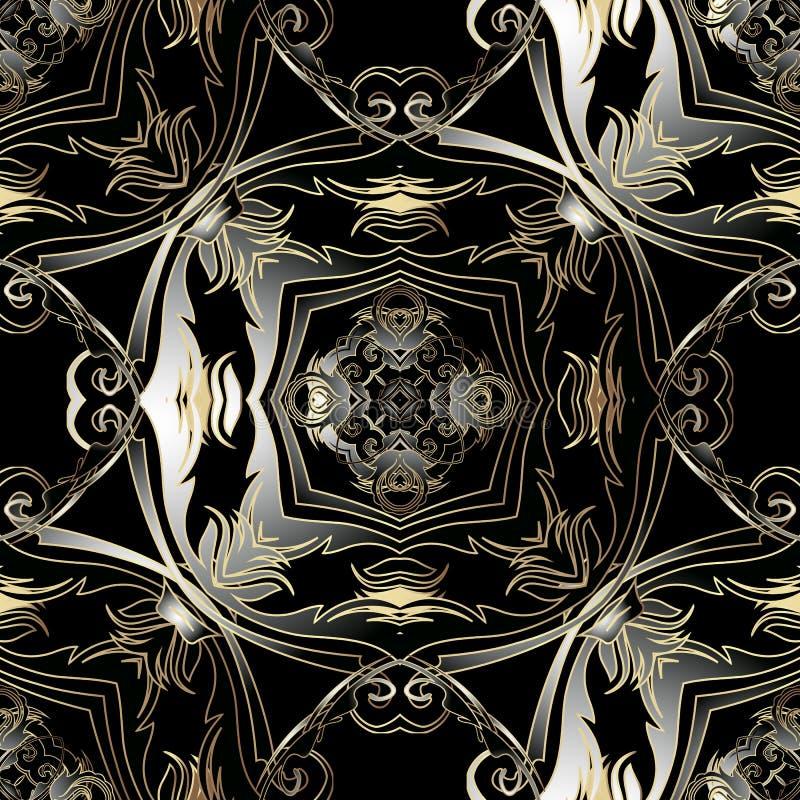 Ornat Baroque vecteur 3d motif continu Arrière-plan d'antiquités ornementales sombres Vintage or noir baroque victorien illustration stock