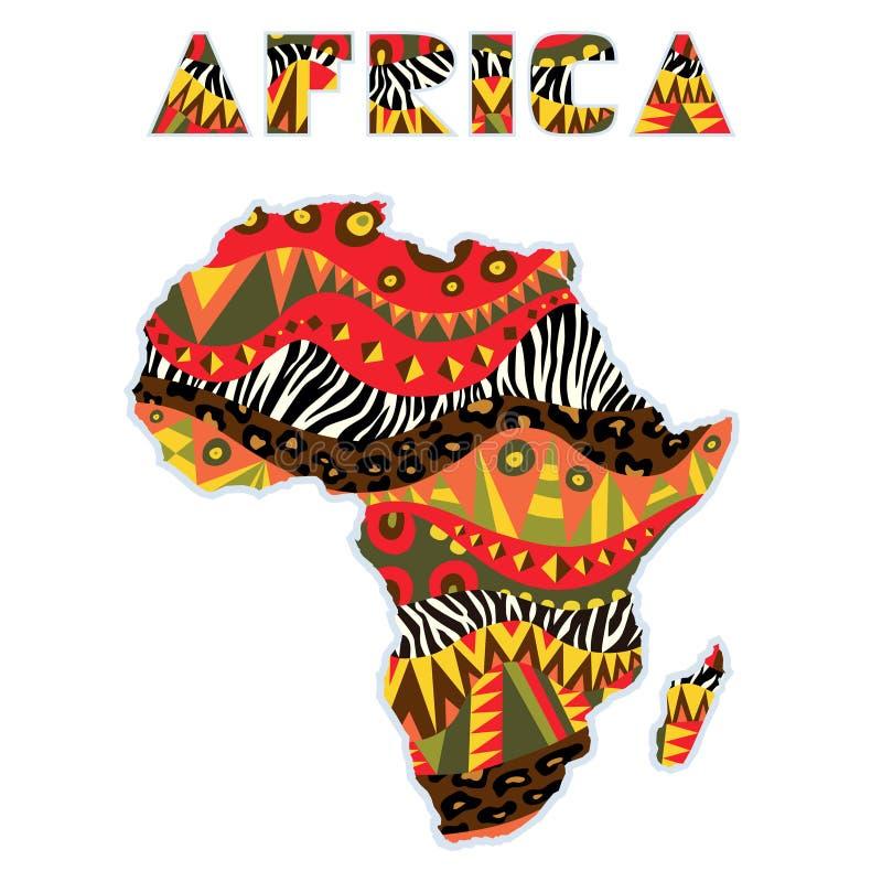 Ornate Africa Continente Com Título De Arte ilustração royalty free