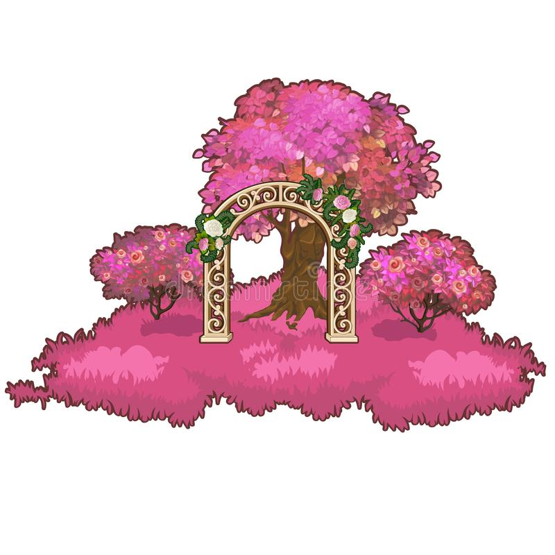 Ornate archway in the pink forest. Vector illustration. royalty free illustration