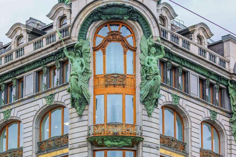Ornate art deco facade of Zinger Singer company historic building or House of Books on Nevsky Prospect in Saint Petersburg, Russia. Saint Petersburg, Russia stock image