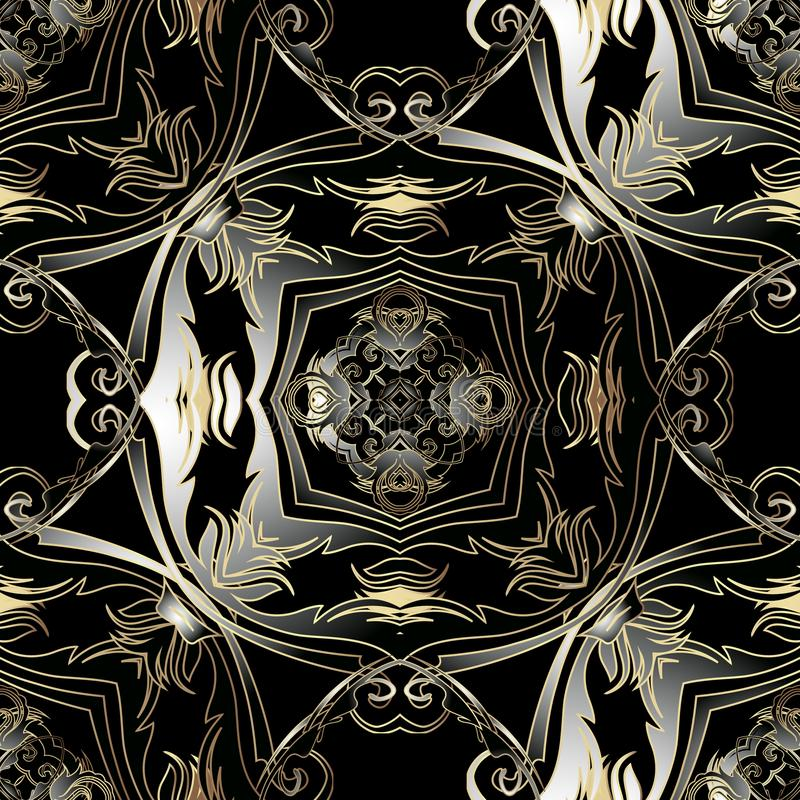 Ornate Baroque vector 3d seamless pattern. Dark ornamental antique background. Vintage gold black baroque Victorian. Style ornament with lines, flowers, leaves stock illustration