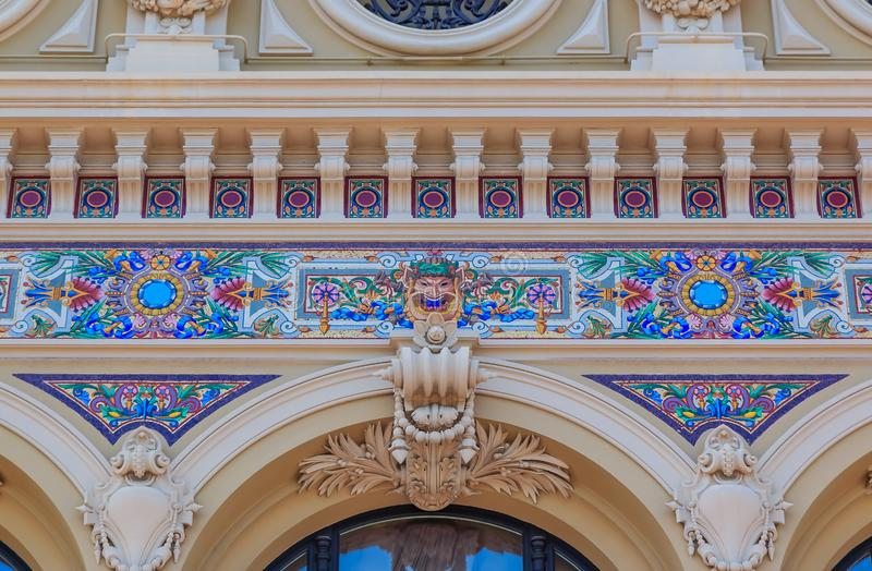 Ornate beaux arts style details of the famous Grand Casino or Monte Carlo Casino in Monaco on Place du Casino royalty free stock photos