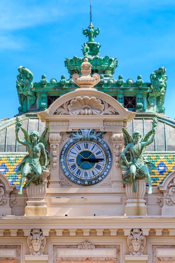 Ornate beaux arts style details of the famous Grand Casino or Monte Carlo Casino in Monaco on Place du Casino. Ornate details of the famous Grand Casino or Monte stock image