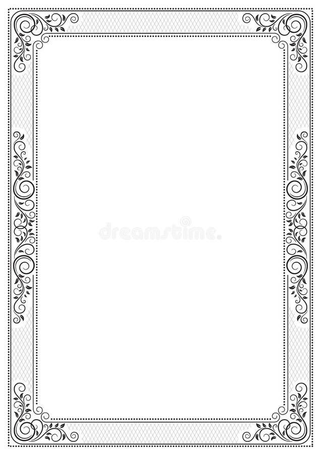 Ornate black framework. A3 page size. royalty free illustration