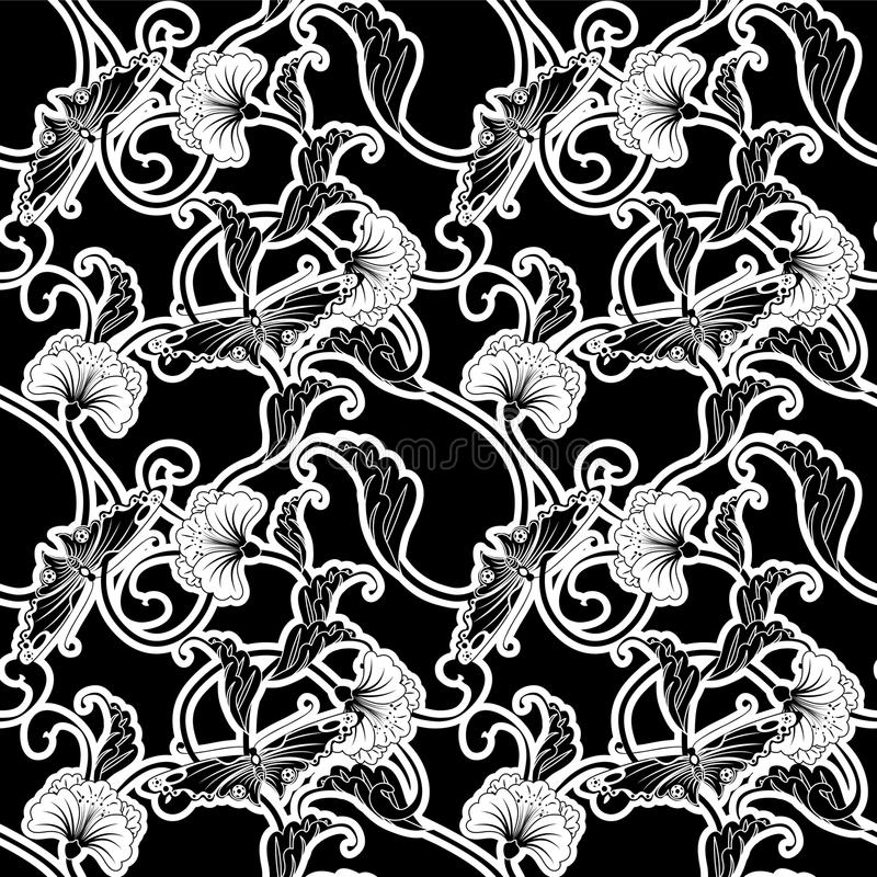Ornate black and white repeating tile royalty free illustration