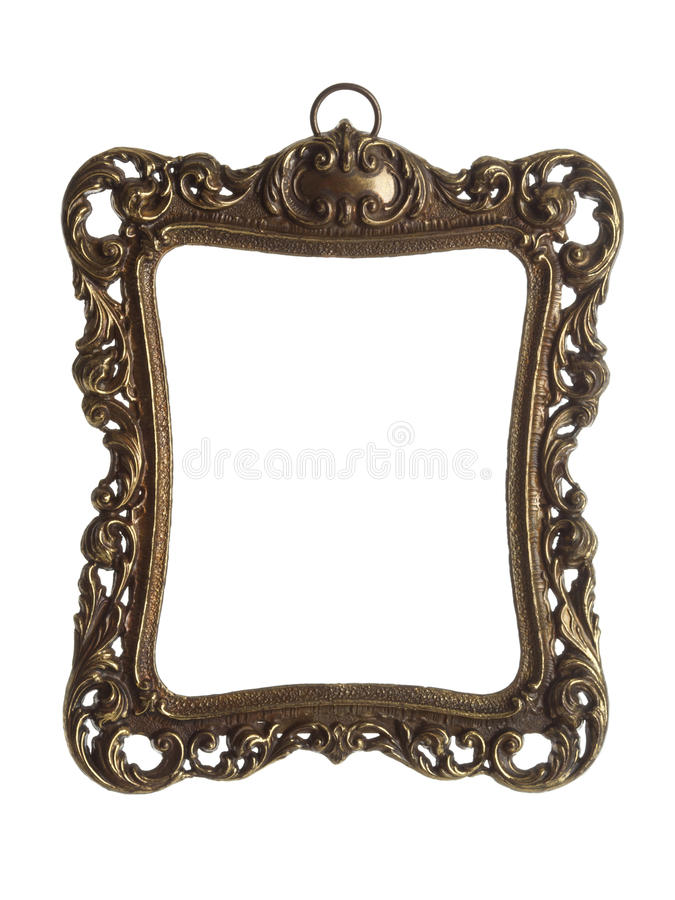 Ornate brass picture frame with clipping path. Ornate picture frame made of brass isolated with clipping path royalty free stock photo
