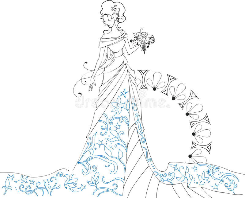 Ornate Bride Silhouette hand drawing with bouquet vector illustration