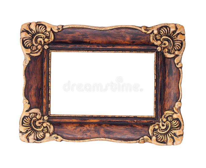Ornate Brown And Golden Baroque Frame Isolated On The White Back ...
