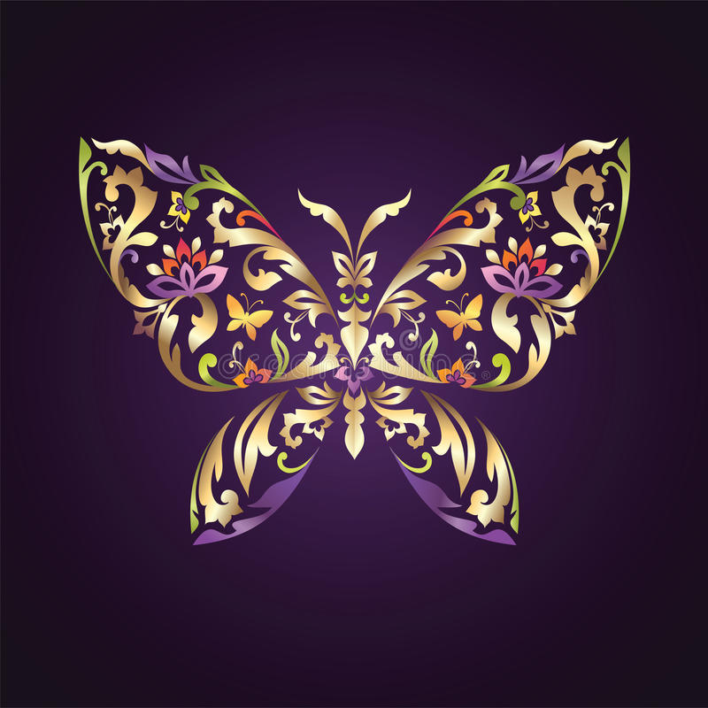 Ornate butterfly symbol with floral pattern stock illustration