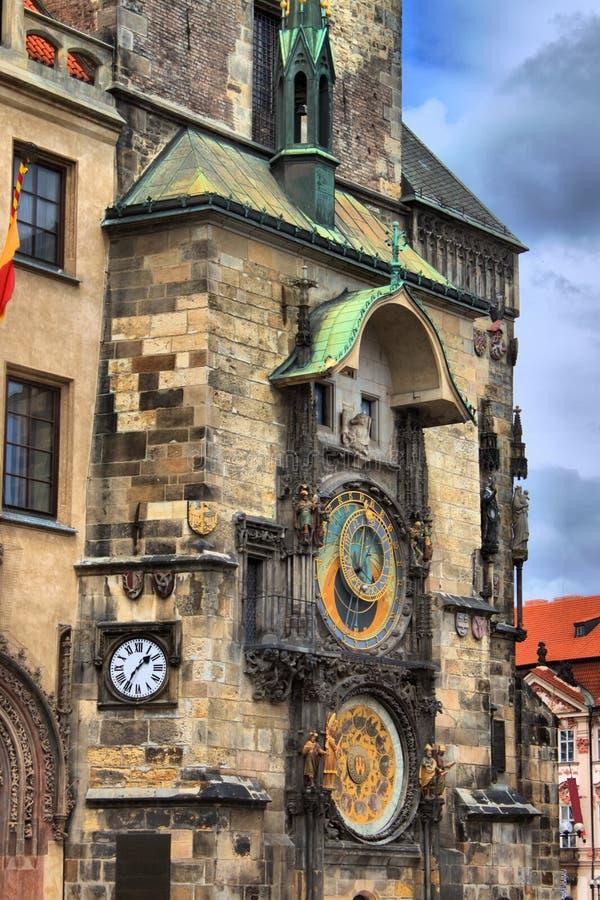 The ornate calendar dial in Prague stock photos