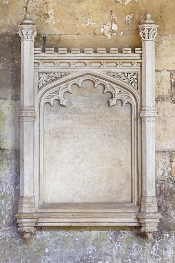 Ornate carved stone frame stock images