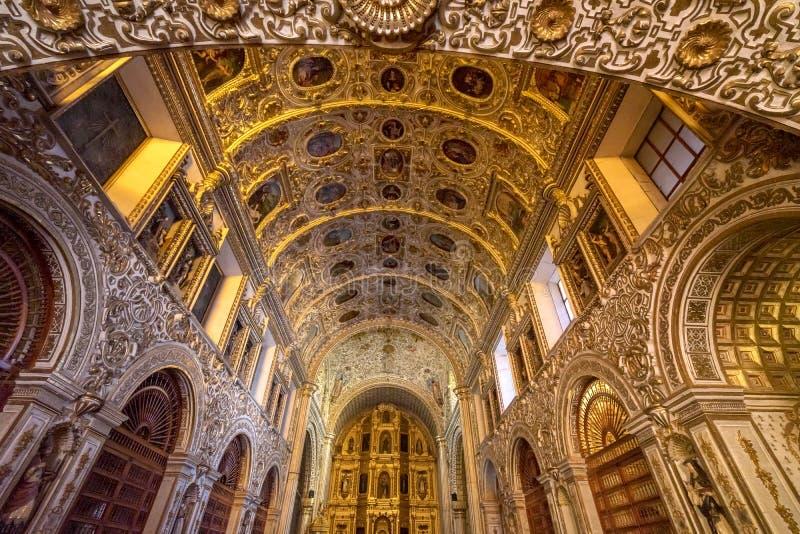Ornate Ceiling Altar Santo Domingo de Guzman Church Oaxaca Mexico. Ornate Ceiling Altar Santo Domingo de Guzman Back Church Monastery Oaxaca Mexico. Built stock photos