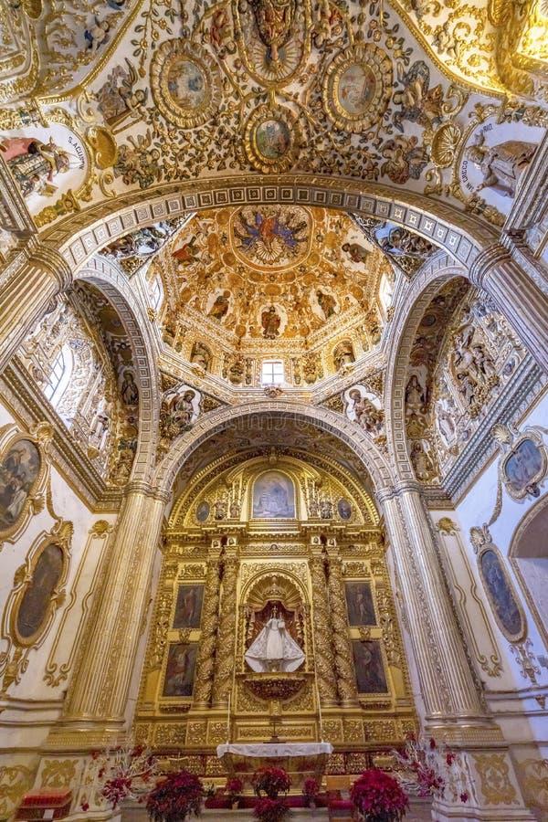 Ornate Ceiling Dome Santo Domingo de Guzman Church Oaxaca Mexico. Ornate Ceiling Dome Altar Chapel Santo Domingo de Guzman Back Church Monastery Oaxaca Mexico stock photo