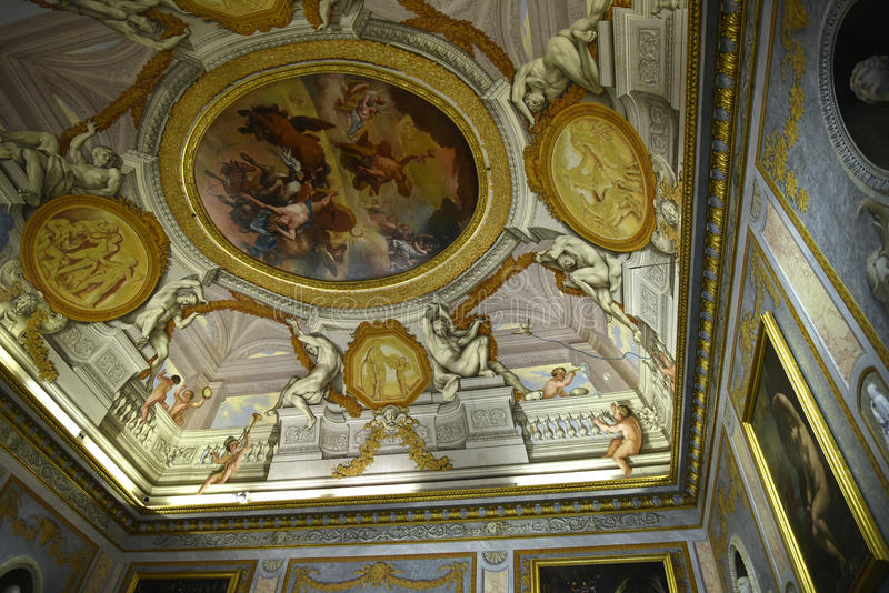 Ornate Ceiling in the Galleria Borghese Rome Italy stock image