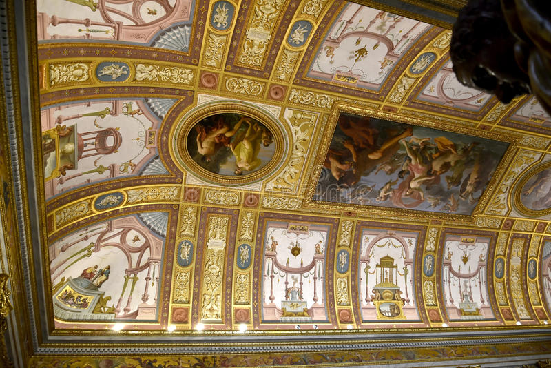 Ornate Ceiling in the Galleria Borghese Rome Italy royalty free stock photo