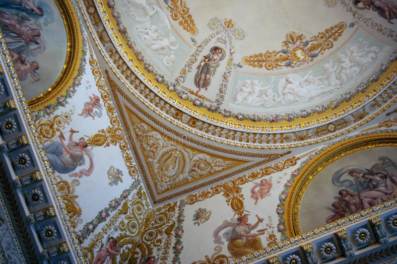 Ornate ceiling in palace.