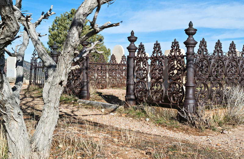 Ornate cemetery fence stock photo