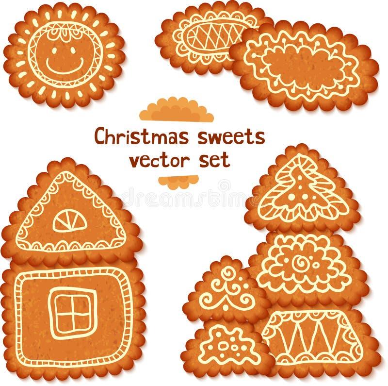 Ornate Christmas sweets vector set