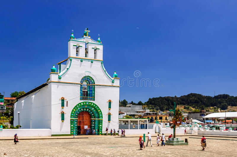 Ornate church, Chamula, Mexico. Chamula, Mexico - March 25, 2015: Ornate exterior of Templo de San Juan Bautista in Chamula, an indigenous town with unique stock photography