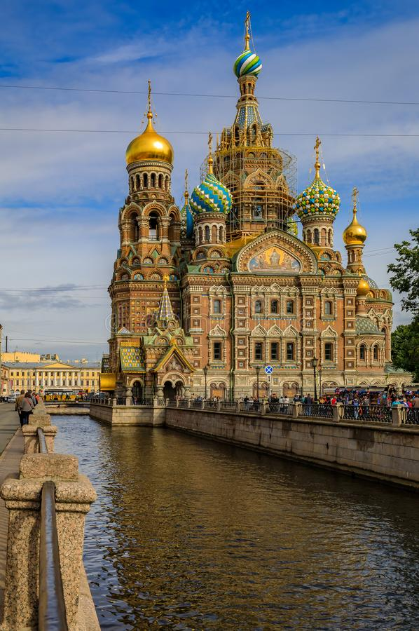 Ornate church of the Savior on Spilled Blood or Cathedral of Resurrection of Christ in Saint Petersburg, Russia. Saint Petersburg, Russia - September 9, 2017 stock images