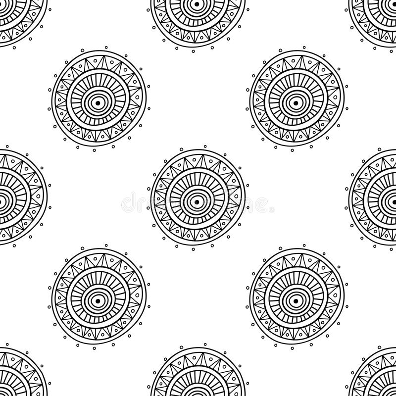 Ornate circle seamless pattern. Vector christmas seamless pattern in ethnic boho style with ornaments. Can be printed and used as wrapping paper, wallpaper royalty free illustration