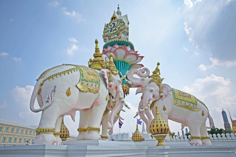 Ornate and colourful statue of elephants in downtown Bangkok, Thailand royalty free stock image