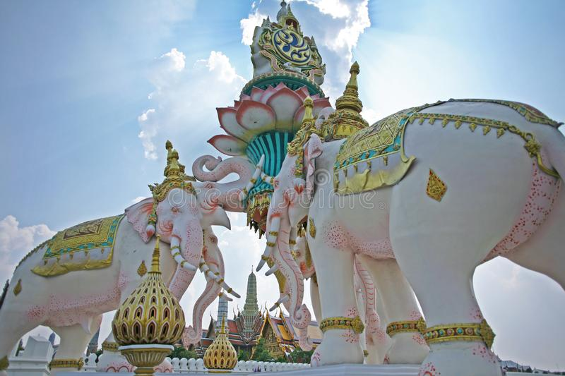Ornate and colourful statue of elephants beside the royal palace in downtown Bangkok, Thailand stock image