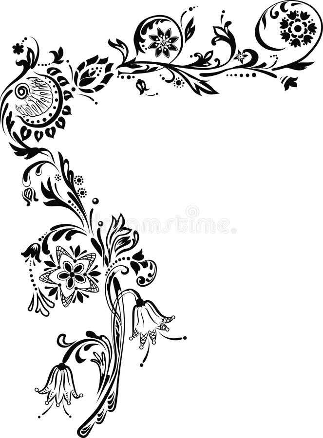 Download Ornate Corner with flowers stock vector. Image of image - 20071075