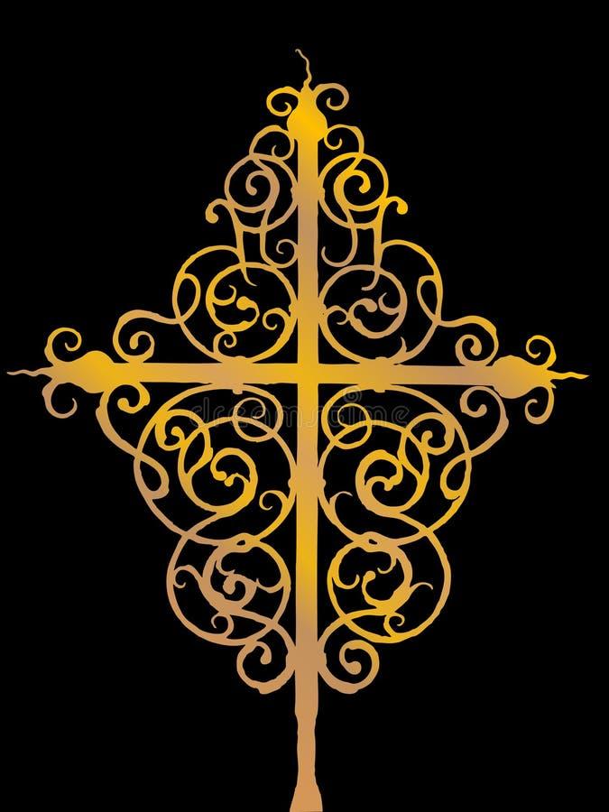 Ornate cross. Vector illustration of ornate golden cross royalty free illustration