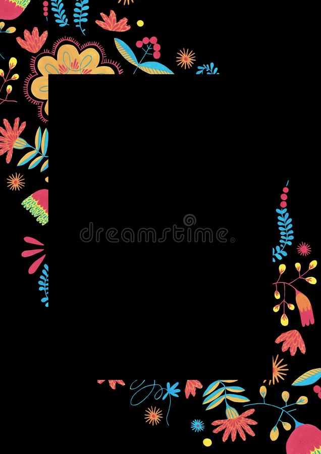 Ornate decor in ditsy style. Enchanted forest in fanciful fairy in a folk style. Folk floral border in minimal style with gouache flower elements on black vector illustration