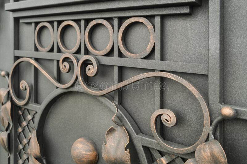 Ornate decorative forged gate elements.  royalty free stock photo
