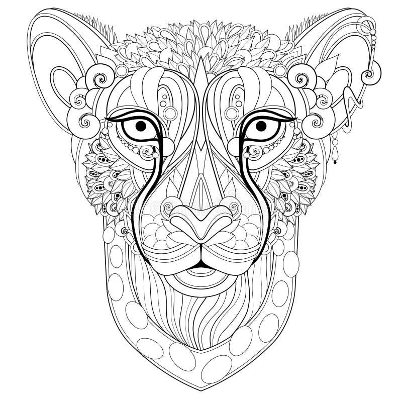 Ornate Decorative Gheetah, Selvagem ilustração royalty free